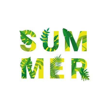 Tropische Sommerzeit auf weißem Papier Hintergrund. Vektorgrafik