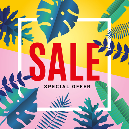 Tropical summer Sale background.
