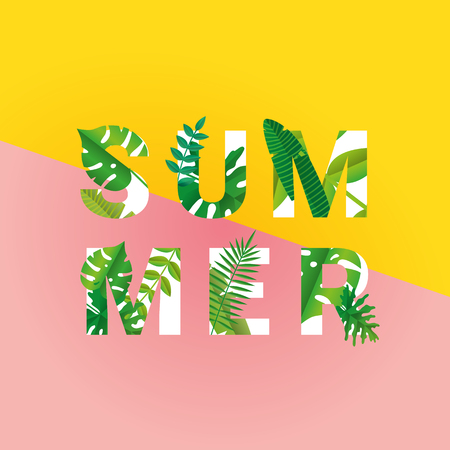 Tropical summer time paper background Illustration