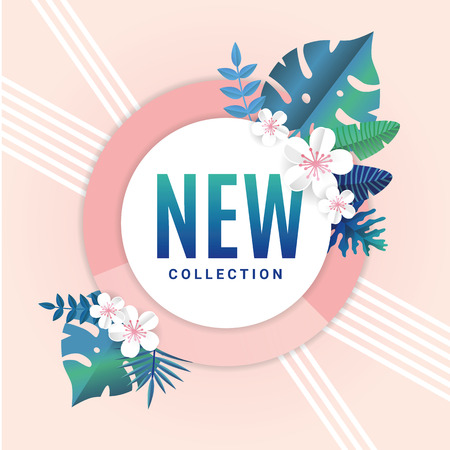 Tropical summer new collection background. Sale banner, poster, logo, web, certificate, gift voucher. Beautiful Palm leaves, vector jungle leaf. Tropical summer, season decoration design flyer Çizim