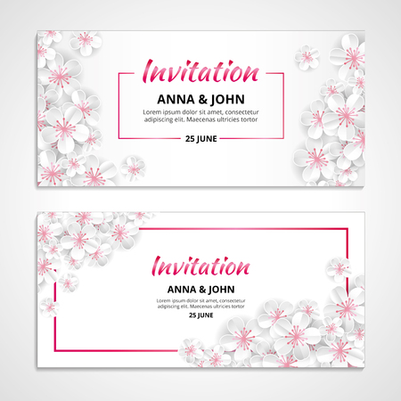 Flower wedding paper invitation for weddings, background, anniversary marriage, engagement, birthday, Baby shower. Save the date. For flyer, invite, greeting card, and greetings card congratulation Illustration
