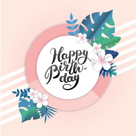 Happy Birthday Sfondo tropicale di carta estiva. Estate tempo tropico vacanza illustrazione banner, intestazione, vendita. Party poster, adesivo, cartellone, sito web. Testo azzurro astratto blu, tipo, script font Archivio Fotografico - 77195204