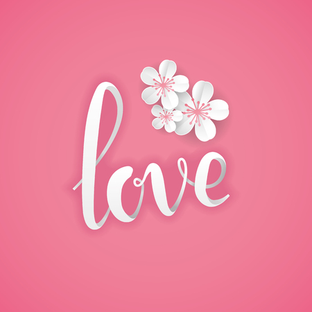 marriage invitation: Love pink paper letter flower background. Happy valentines day. I love you. Pink background for greeting card, sign, banner, invitation, anniversary marriage, engagement, birthday, Baby shower, Flower