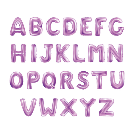 Metallic Pink ABC Balloons, letter alphabeth. purple type Balloons for Text, Letter, new year, holiday, birthday, celebration. Pink shiny bright font in the air. Ilustração
