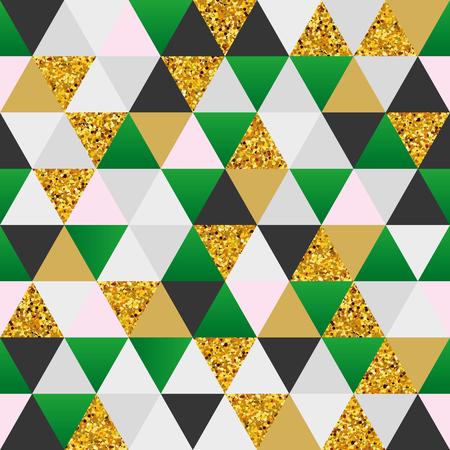 Geometric green gold marble seamless pattern background Ilustração