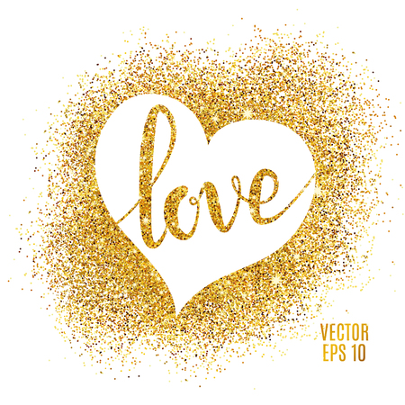 Heart Love gold glitter background. Golden armour background for flyer, poster, sign, banner, web, header, invitation. Abstract shine sparkles for text, type, quote Happy valentines day Illustration
