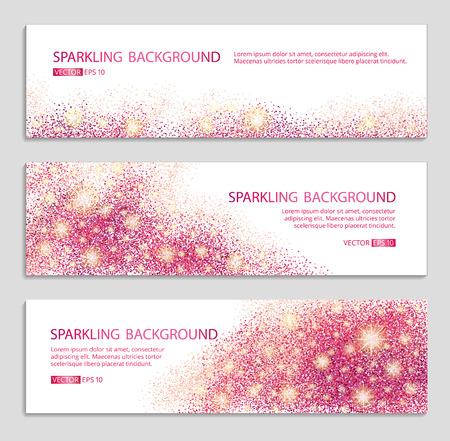 ピンクと赤の輝きの白い背景、バナー。ピンクのバナーです。ピンクの背景。テキストの赤い旗。バナーのロゴ、ウェブ、カード、vip、排他的な証  イラスト・ベクター素材
