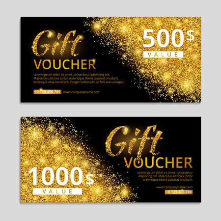 web shopping: Gold voucher glitter background. Shiny gift certificate with text. Banners for logo web, card vip exclusive luxury privilege, sale, store, present, shopping. Golden light bright sparkles.