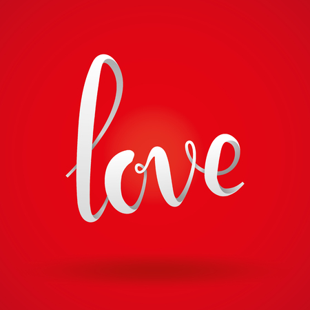 Love red 3d lettering background. Love volume script logotype for card, invitation, banner, poster, greeting card. Red love logo on whine background. Happy valentines day.
