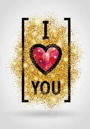 Valentines day card. I love you. Gold background for flyer, poster, sign, banner, web, header. Abstract golden background for text, type, quote. Gold blur background.