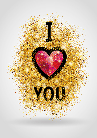 Valentines day card. I love you. Gold glitter backdrop for poster, sign, banner, web, header. Abstract golden backdrop for text, type, quote. Shiny sparkles blur backdrop. Illustration
