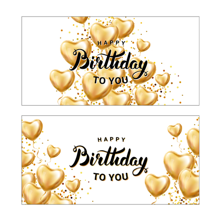 Happy birthday balloon banner. Heart Gold Red transparent balloon on background. Frosted party balloons for event design. Balloons isolated air. Party decorations birthday, anniversary, celebration.