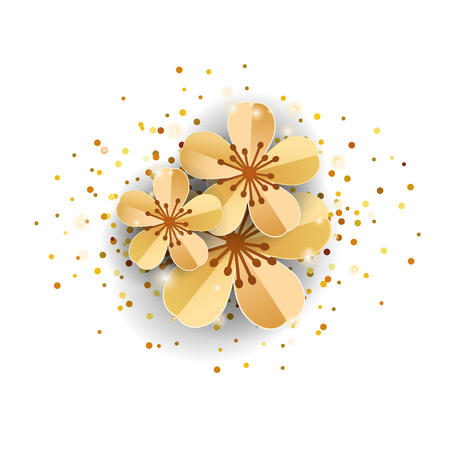 golden apple: gold sakura flowers on white Illustration