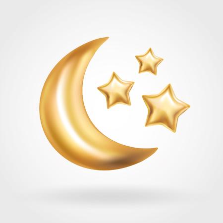 Gold Crescent Moon star balloon Ramadan