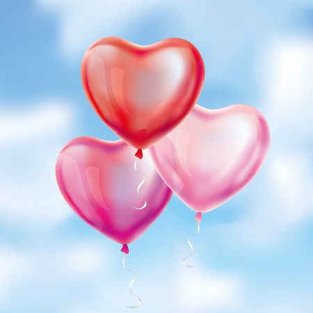 shiny hearts: Heart Red transparent balloons on sky background.