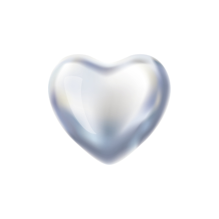 Heart Silver balloon on background.