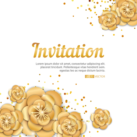 event party: gold lotus flower invitation banner. Spring flower invitation background. Paper art flowers template for banners, birthday, wedding, sale, party, event, congratulation, posters, greeting card