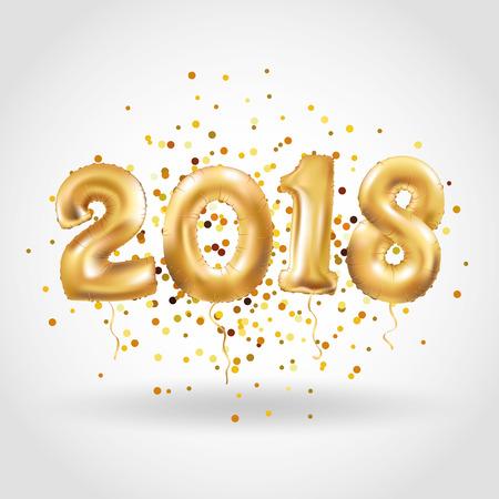 Happy new year Metallic Gold Balloons Illustration