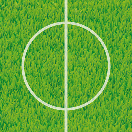 Football soccer field center and ball top view background