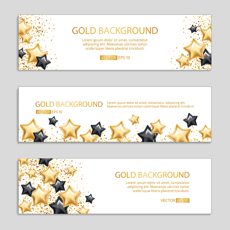 Gold Black star banner background Ilustrace