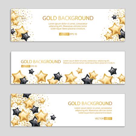 Gold Black star banner background Illustration