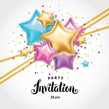 Gouden sterballon Uitnodiging van het boeket Stock Illustratie