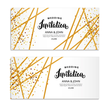 Gold Line Invitation Vettoriali