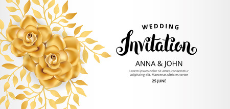golden apple: Gold Flower wedding invitation