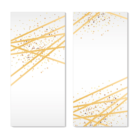 Gold Banners Sparkles Background Ilustracja