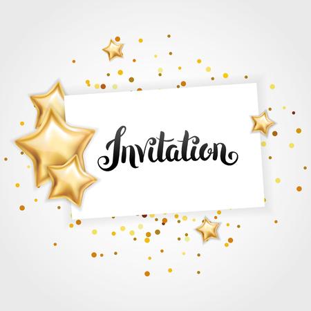 Gold star Invitation Stock Photo