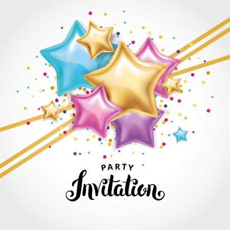 Invito di mazzo di palloncino a stella d'oro Archivio Fotografico - 87331587