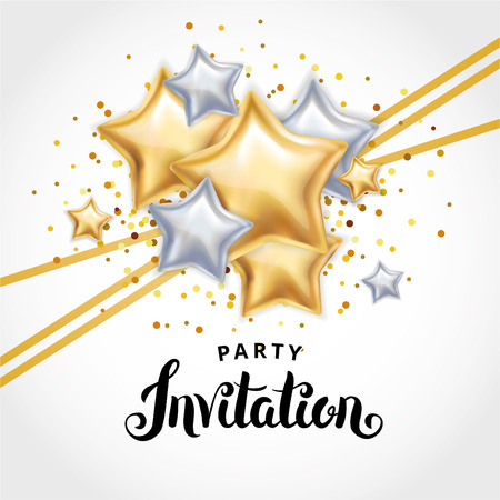 star Gold balloon Bouquet invitation Stock Photo