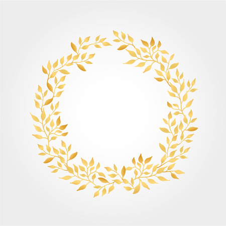 Gold Autumn leaves Background wreath. Autumn tree leaves. Gold leaf background banner, title, invitation. Golden leaf frame wedding, greeting cards, happy birthday, thank you, sale. Golden flyer, decor
