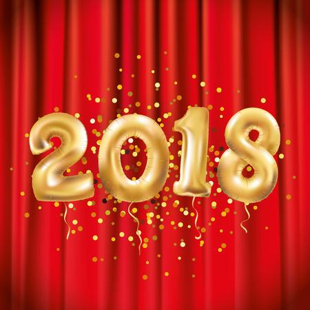 Happy new year Metallic Gold Balloons red. Golden Letter Balloon, 2018 Happy new year, Gold Number event, event Balloons, stage. Christmas celebration, decoration, golden sparkles. Vector set Ilustração