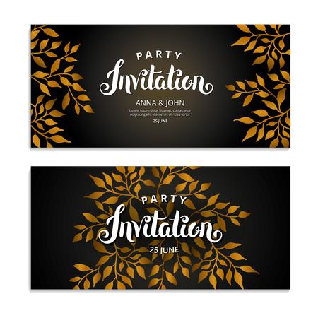 Gold Autumn Floral invitation on a plain background. Illustration
