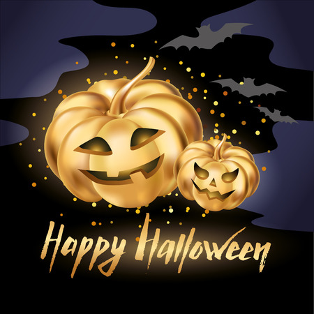 october 31: Gold halloween pumpkins Illustration