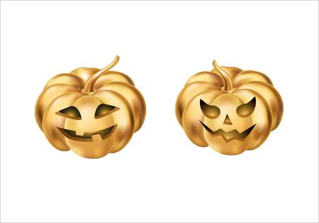 october 31: Gold halloween pumpkins Stock Photo