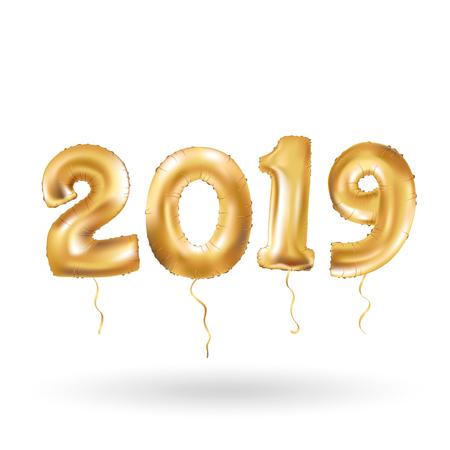金属ゴールド文字風船、2019年幸せ新しい年、金数風船、アルファベット文字バルーン、数ボール、空気満たされた気球