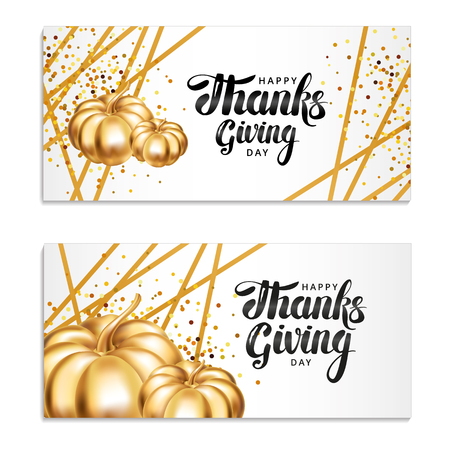 幸せな感謝祭の日のグリーティング カード。テンプレートの文字。グリーティング カード、メニューの装飾、招待状金のカボチャの感謝祭の組成。  イラスト・ベクター素材