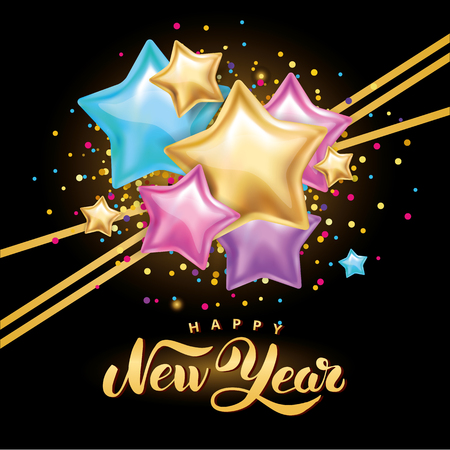 Gold and colored stars design with text Happy New Year on glittered black background Illustration