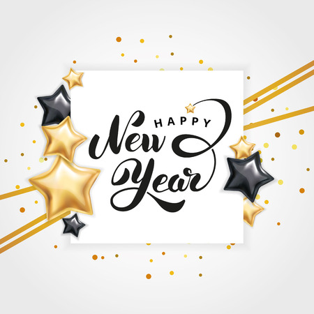 Gold star Happy New Year logo Stock Photo