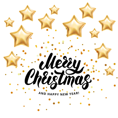 Merry Christmas Happy New Year 2018. I wish you Merry Christmas and Happy New Year. Gold stars sparkles, glitter confetti. Greeting card white background. Golden sparkle backdrop invitation, decoration 向量圖像