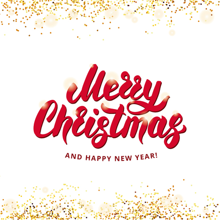 メリー クリスマス幸せな新年 2018私は陽気なクリスマスと幸せな新年を希望します。ゴールドの輝き、キラキラ紙吹雪。赤白背景。Invitetion、装飾の