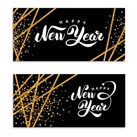 Gold sparkles Happy New Year Vector illustration.