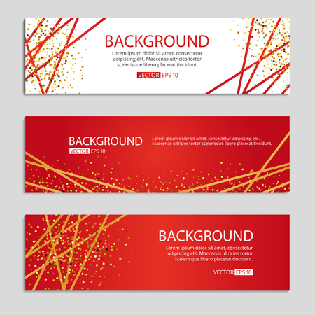 Gold and Red banner with Sparkles set vector Illustration