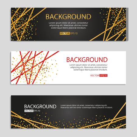 Gold Line Banners set vector Illustration