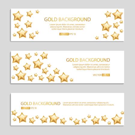 Gold stars and balloons set vector Illustration