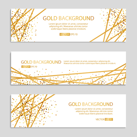 Gold Sparkles banner Background Vector illustration. Çizim