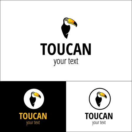 Toucan logotype brand name. Bird logo for company, business, travel. Child cartoon animal. Corporate identity for brasilia, south america, carnival. Cute tropical character, smile toucans Illustration