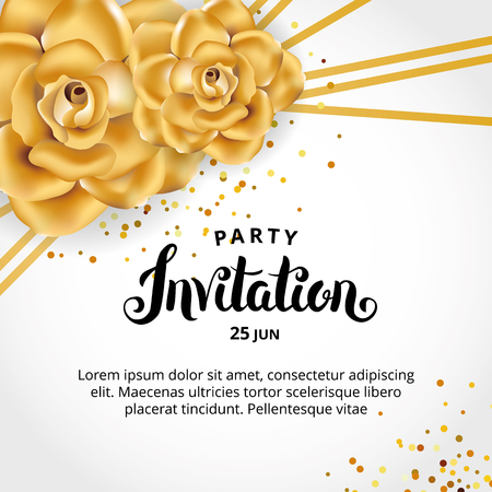 Gold Line Floral invitation card design.